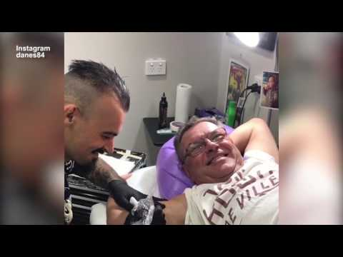 Steve Price screams in pain as he gets a TATTOO