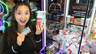 We won Movie Tickets from a claw machine!