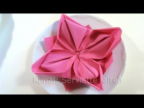 Servietten falten: Lotusblüte - Blume als Tischdeko für Frühling & Hochzeit