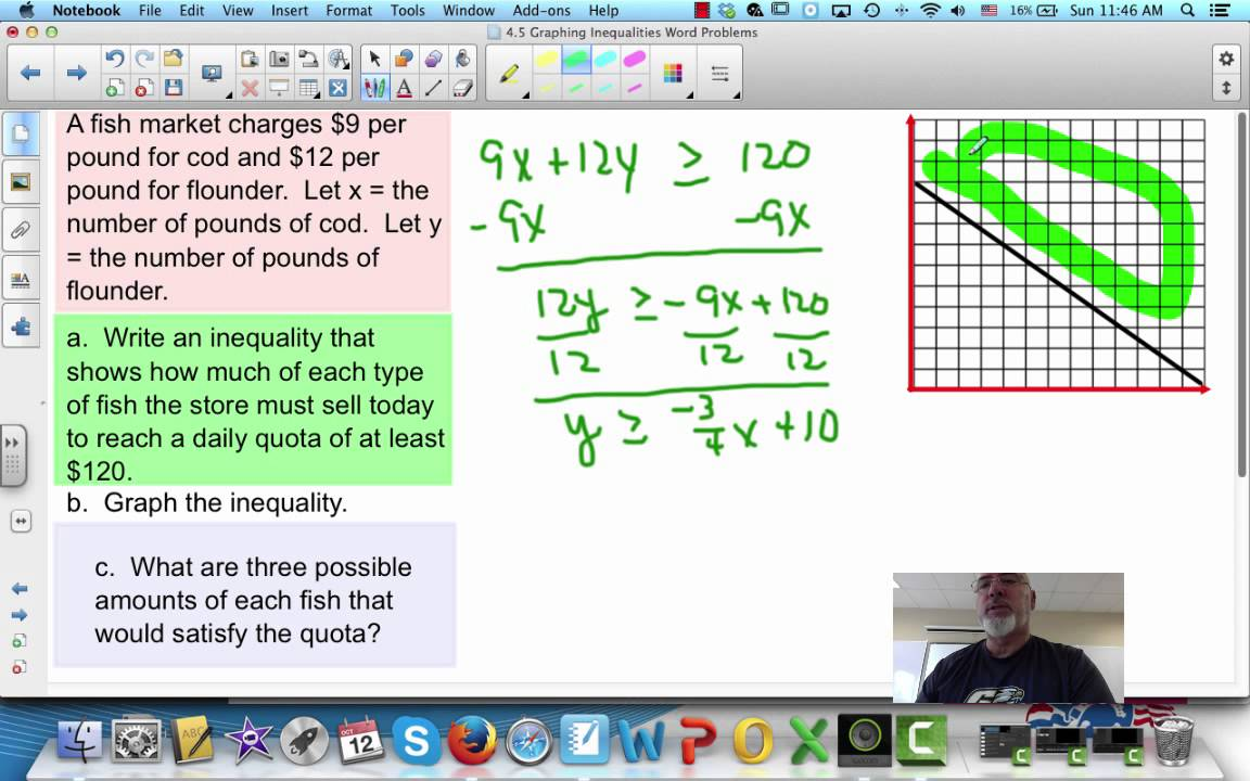 graphing inequalities word problems youtube