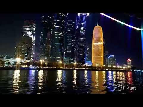 Beautiful Night View of Doha Corniche Buildings - Qatar