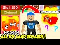 I BOUGHT ALL 150 TOY LAND REWARD SLOTS AND GOT THE TIER 150 PET IN BUBBLE GUM SIMULATOR!!! (Roblox)