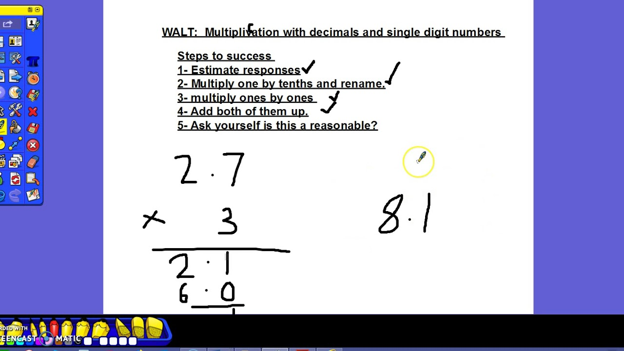 how to multiply decimals by hand