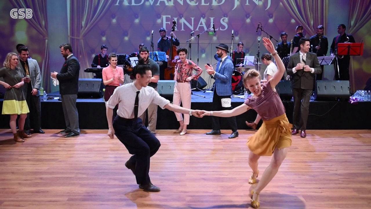 Swing dancers competing in a competition