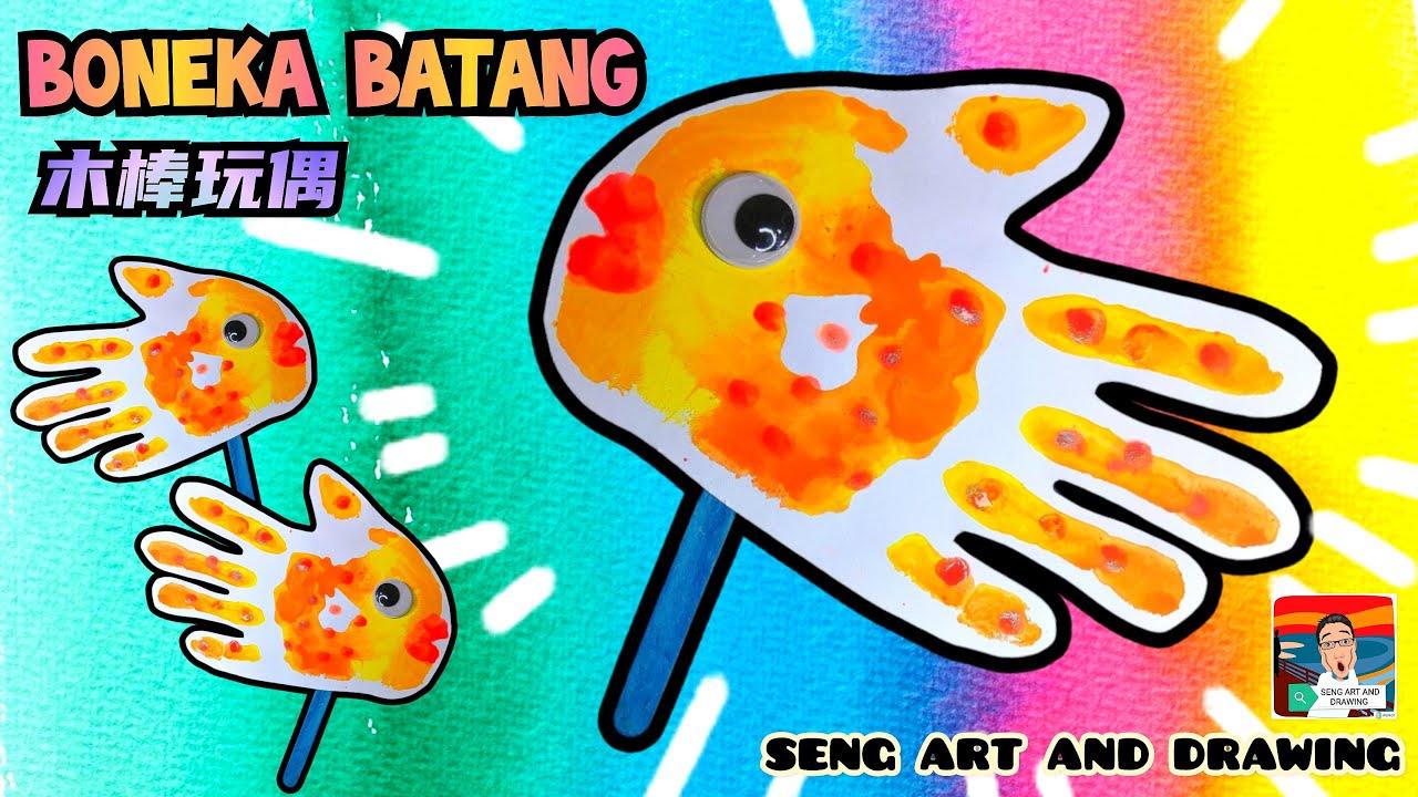 BONEKA BATANG IKAN ( Teknik Capan ) 🌟 盖章(压印)木棒玩偶 🌟 Fish Stick Puppet ( Printing Art )