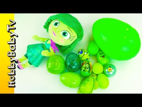 Disney Disgust Surprise Eggs Learn Color GREEN Lesson 4 HobbyBabyTV