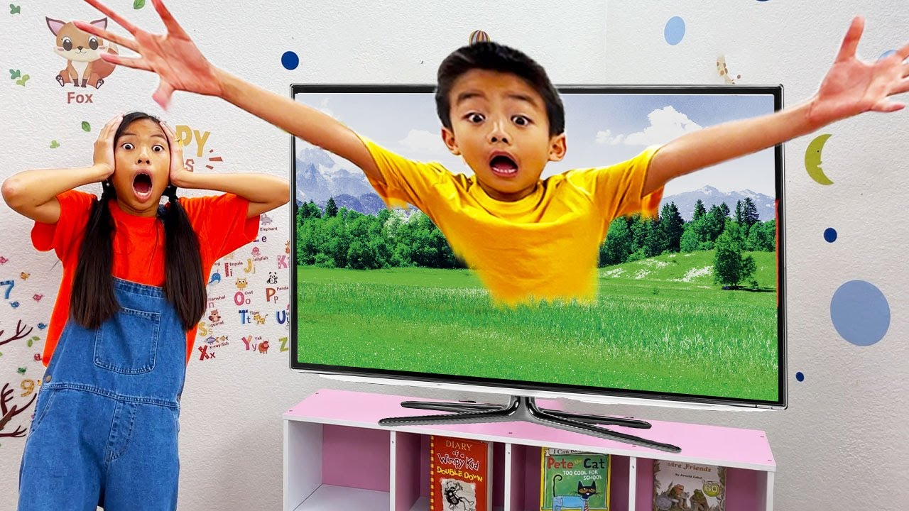 Wendy and Eric Gets Sucked into the TV | Kids Learn Not to Watch Too Much TV