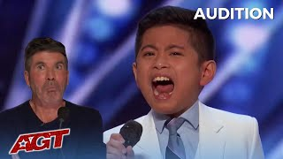 Peter Rosalita: 10 Year Old Filipino Boy BLOWS SIMON AWAY! America's Got Talent!