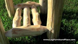 Outdoor Cedar Log End Table From The Cedar Lake Collection