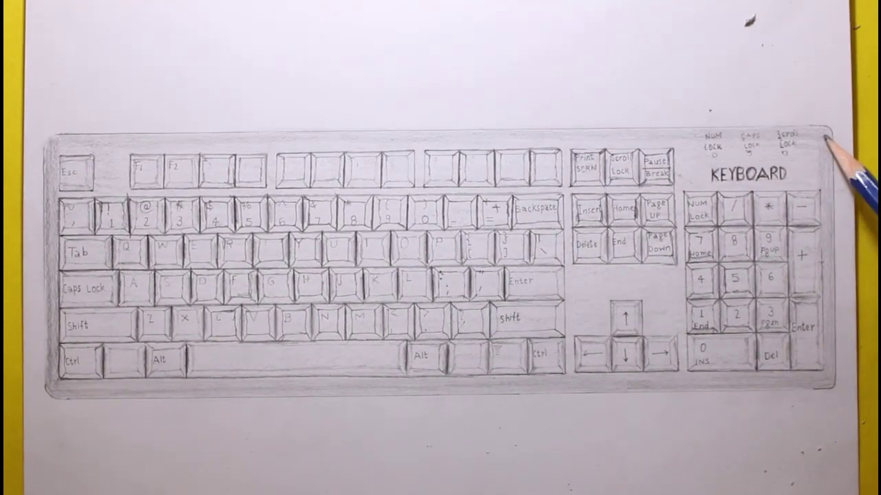 How To Draw Computer Keyboard How To Draw Keyboard Step By Step Very Easy Keyboard Draw Session Youtube
