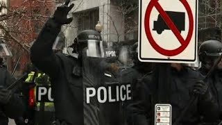 Inauguration protesters clash with police