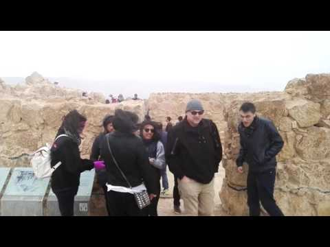 A unusual sight at Masada, Israel - cold weather, rain and strong winds