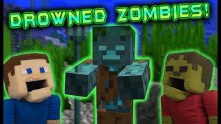 Minecraft Drowned Zombie Figures?! Aquatic Update Baby Mob Farm Needs to Happen! Puppet Steve