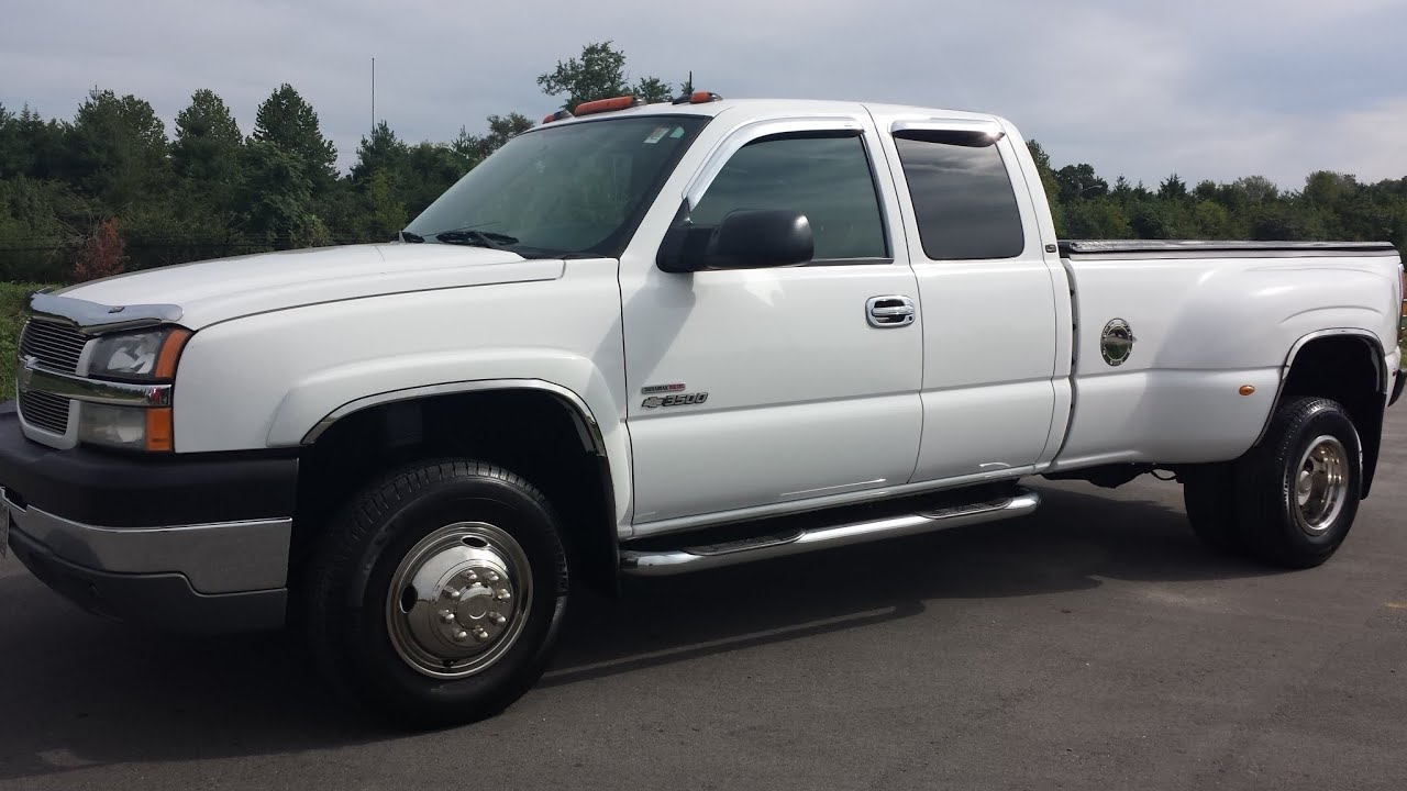 Sold 2004 chevy silverado 3500 hd extended cab dual rear wheel 4x4 6 6l duramax 112k banks exhaust