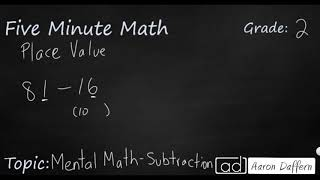 2nd Grade Math Mental Math - Subtraction