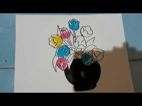 Cara Menggambar Dan Mewarnai Bunga Di Pot Dg Spidol