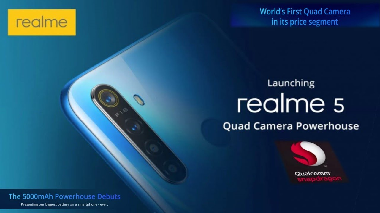 Realme 5 Pro - World's First 48MP Quad Camera ,5000mAh battery, SD-712  Launching on August 20th