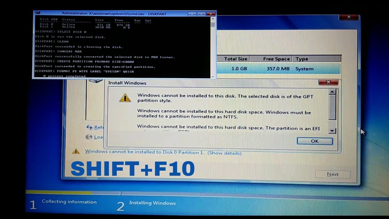 Convert GPT to NTFS || Windows cannot be installed to this disk is of the  GPT partition SOLUTION