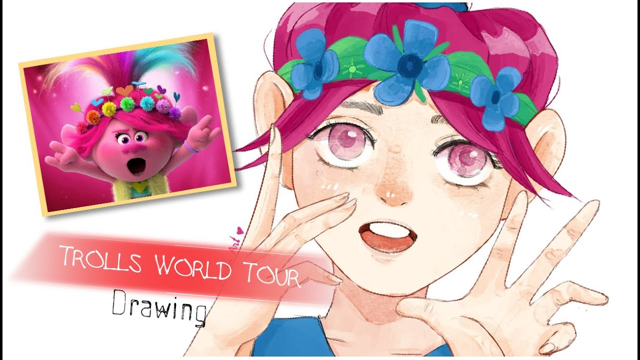 Vẽ Poppy | How to draw Poppy with watercolor | Trolls World Tour | Semi Realistic Style | Doodle Art