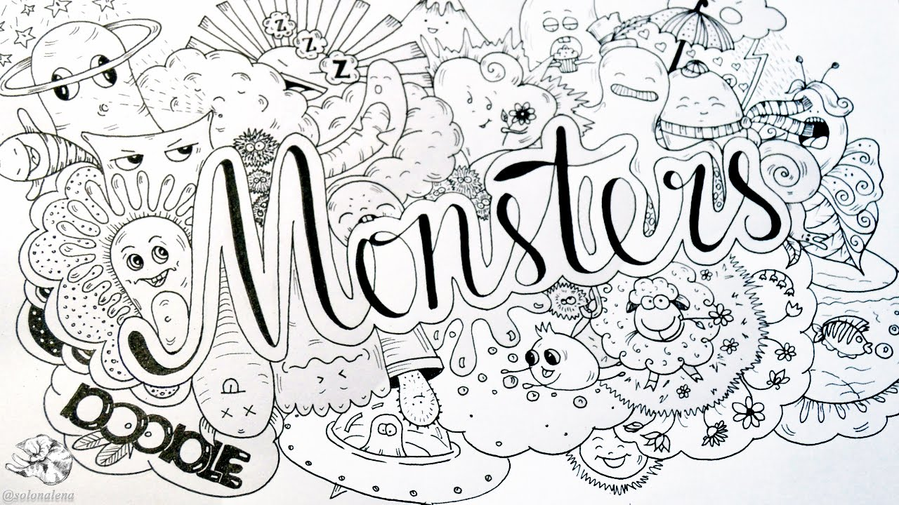 Black And White Feature Wall Wallpaper How To Draw Cute Doodle Monster Easy Doodle Art With