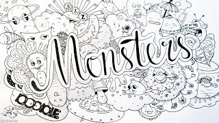How to Draw Cute Doodle Monster | Easy Doodle Art with Hand Lettering
