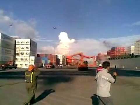 Container gantry crane falls over