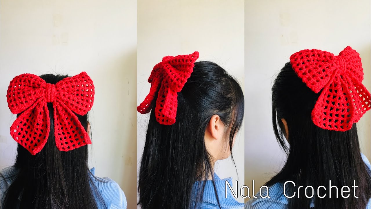How to crochet bow/DIY crochet bow/สอนถักโบว์/โครเชต์โบว์