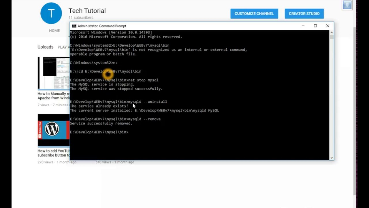 How to remove mysql from windows service with command prompt