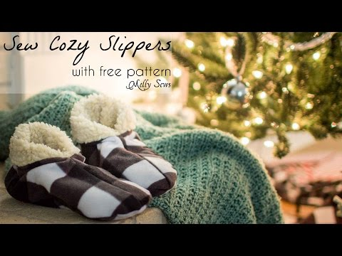 Sew Slippers - Pattern and Tutorial for Fleece Slippers for Men, Women and Kids