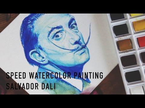 Speed Watercolor Painting | Salvador Dali Portrait