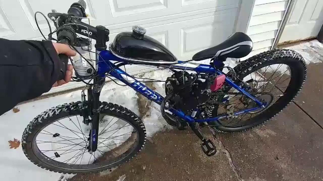 *LOW SOUNDING EXHAUST MOD* MB 80cc Snow Motorized Bicycle custom exhaust  PK-80