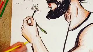 Drawing a Man Blowing  Dandelion Pedals