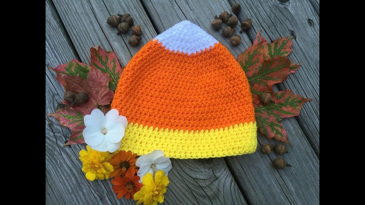 Candy Corn Hat- Free Crochet Pattern (size child-adult) - YouTube