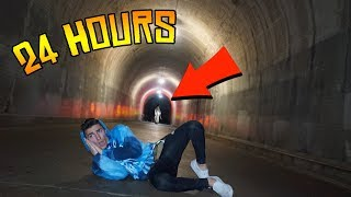 we stayed over night at the haunted tunnel... (24 hour challenge)