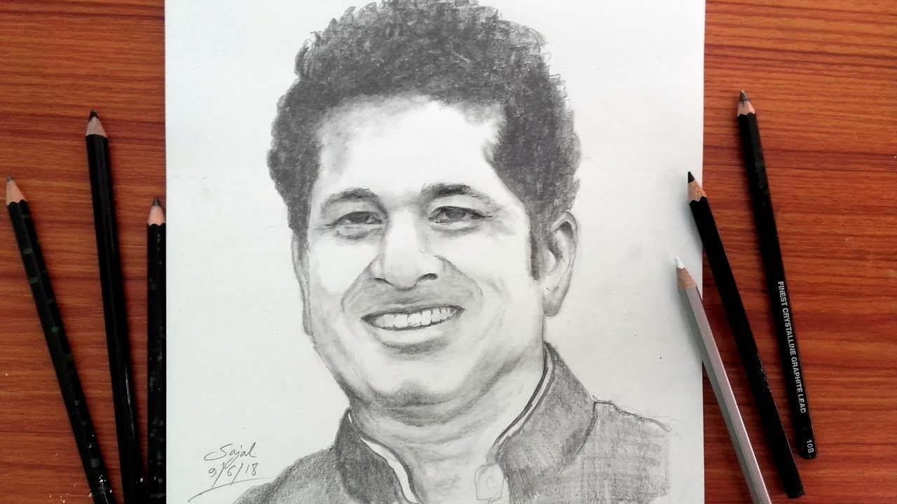 Drawing sachin tendulkar easy pencil sketch banglar art