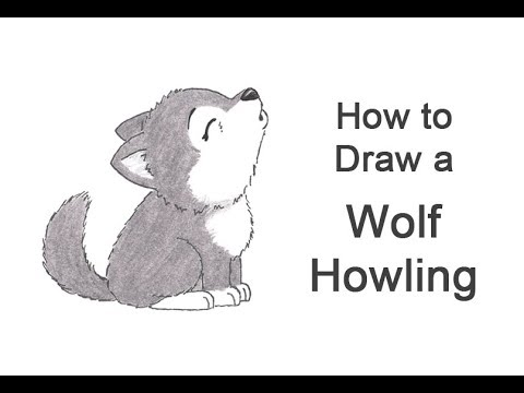 How to draw a wolf howling cartoon