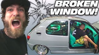British Guy BREAKS Window IN MY FACE... Extreme Car Audio SUBWOOFER Bass System Breaking Glass!