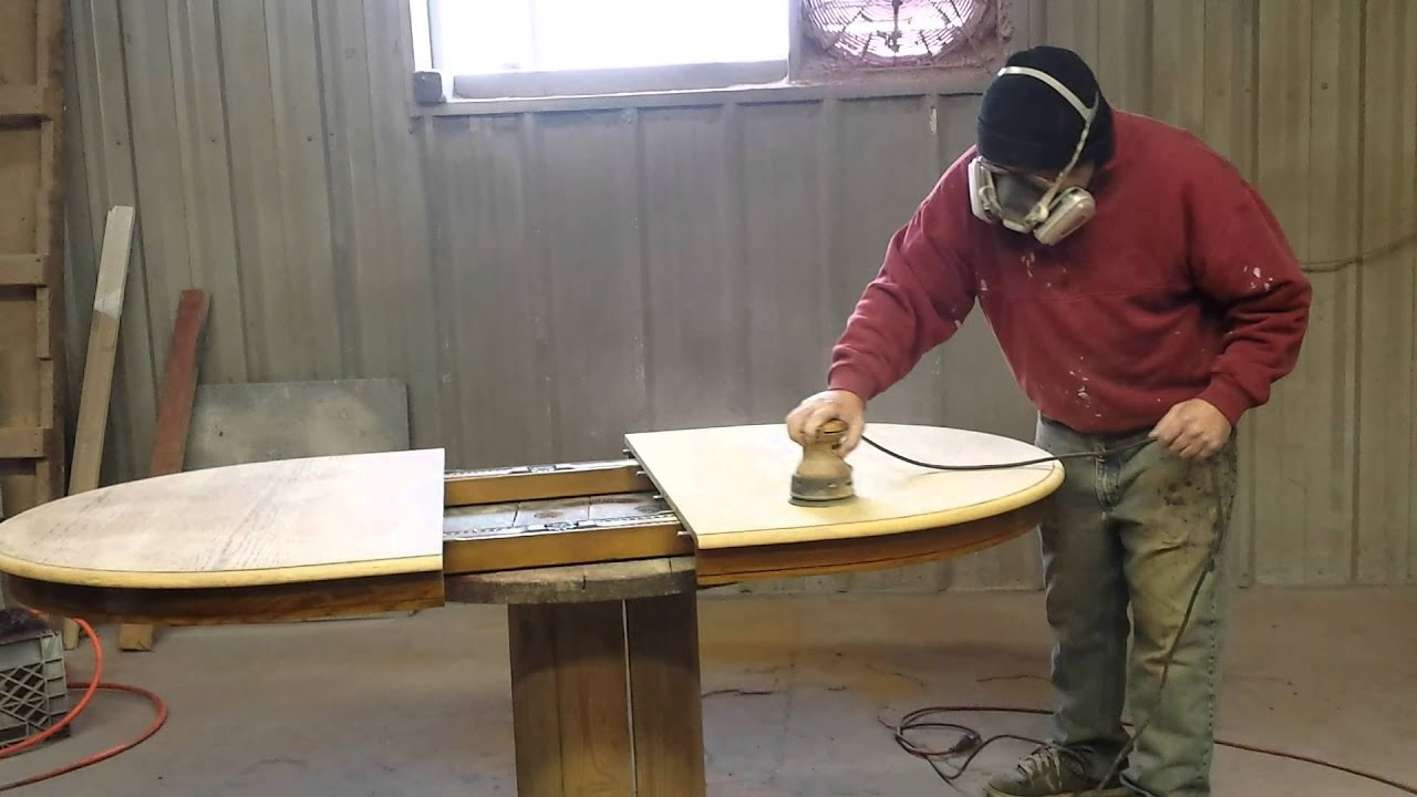 How To Sand A Oak Dining Table By Timeless Arts Refinishing 616 453 8309    YouTube Part 84