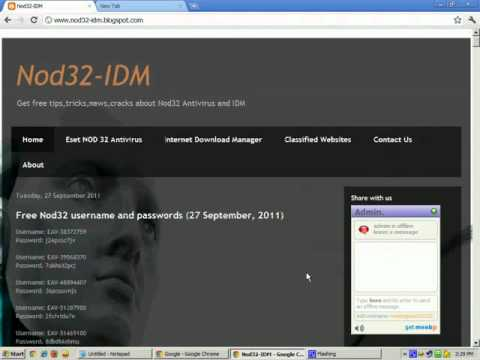 nod32 free username and password latest update