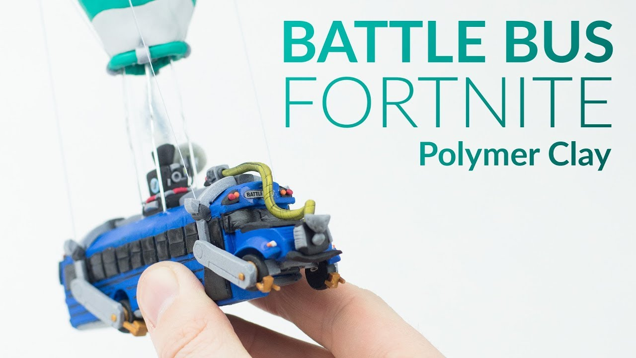 Battle bus fortnite royale polymer clay