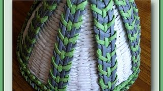 Плетение полоски из газетных трубочек - Часть 3 / Weave the strips of newspaper tubes - Part 3