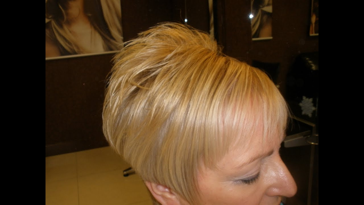 short stacked hair style
