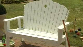 East Cottage 4 Ft  Adirondack Wood Garden Bench White Finish - Product Review Video