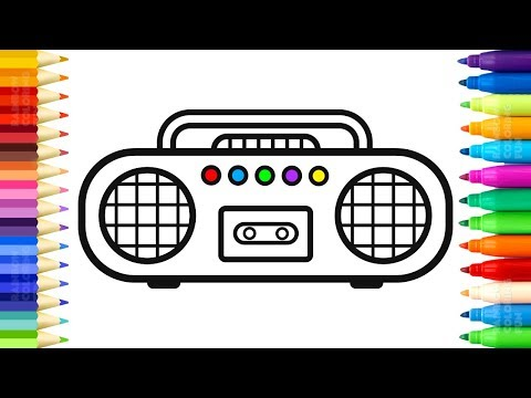 Radio Cassette Player Coloring | How to Draw Radio and Microwave | Drawing for Kids