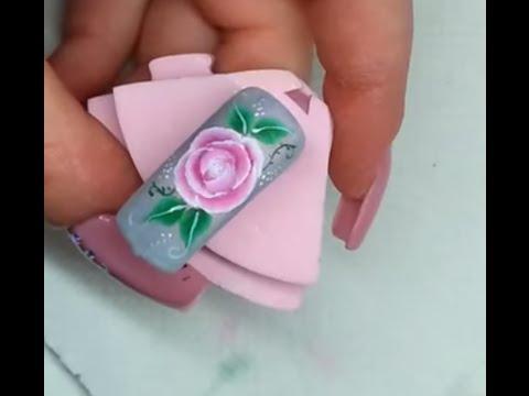 Nail art rosa in micropittura one stroke youtube prinsesfo Gallery