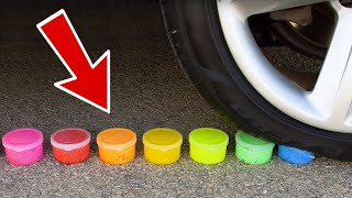 ODDLY SATISFYING Tire Crushing Crunchy & Soft Things By Car! (Slime, Floral Foam) !!