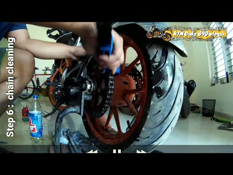 How to adjust, clean and lube a motorcycle drive chain ||KTM duke 390|| DIY.
