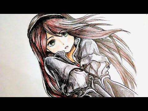 رسم سهل بالرصاص بنت انمى كيوت بشعر طويل Easy Pencil Drawing