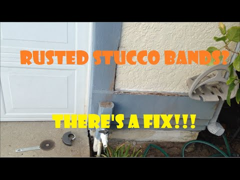 Rusted Stucco Bands Repaired With Vinyl Bands And Exterior