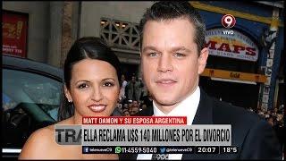 El millonario divorcio de la esposa argentina de Matt Damon